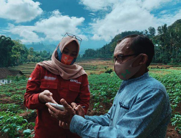 Pegawai BNI sedang berbincang-bincang dengan debitur Kredit Usaha Rakyat (KUR) BNI. Sebagai dukungan terhadap program ketahanan pangan, BNI memiliki program BNI Smartfarming yang dalam memastikan agar para petani mendapatkan akses pembiayaan yang murah dan mudah serta pendampingan yang memanfaatkan teknologi pertanian digital selama proses budidaya.